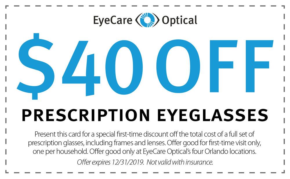 $40 off prescription glasses coupon